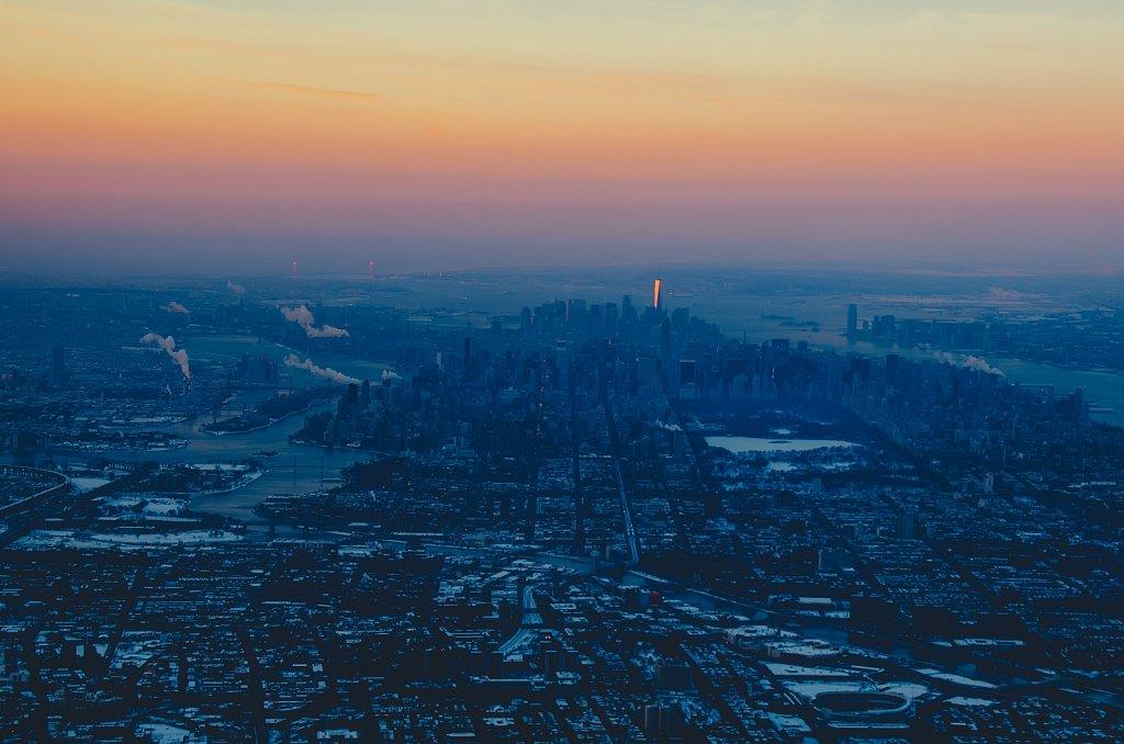 One particularly cold morning in the sky above New York City